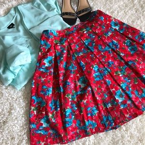Talbots Floral Print A-Line Pleated Full Skirt 6P